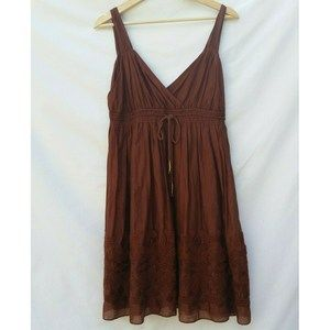 Banana Republic Brown Embroidered Sundress 4